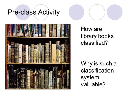 Pre-class Activity How are library books classified? Why is such a classification system valuable?