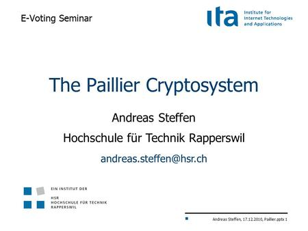 The Paillier Cryptosystem