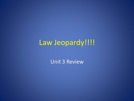 Law Jeopardy!!!! Unit 3 Review. Chapter 11Chapter 12Chapter 13Chapter 15Chapter 16 100 200 300 400 500 Right Side of Room CenterLeft Side of Room Final.