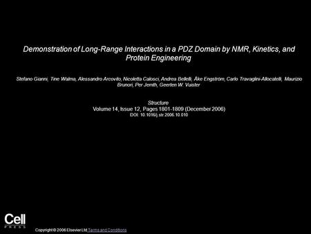 Demonstration of Long-Range Interactions in a PDZ Domain by NMR, Kinetics, and Protein Engineering Stefano Gianni, Tine Walma, Alessandro Arcovito, Nicoletta.