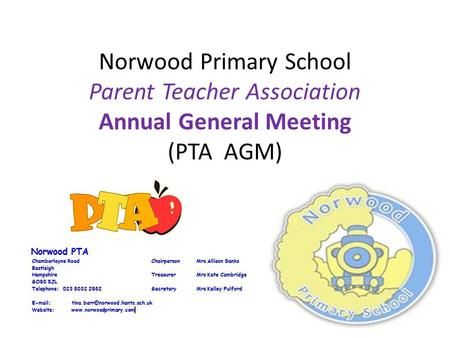 Norwood Primary School Parent Teacher Association Annual General Meeting (PTA AGM)