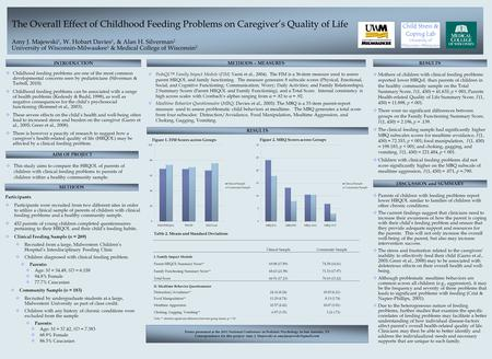 The Overall Effect of Childhood Feeding Problems on Caregiver's Quality of Life Amy J. Majewski 1, W. Hobart Davies 1, & Alan H. Silverman 2 University.