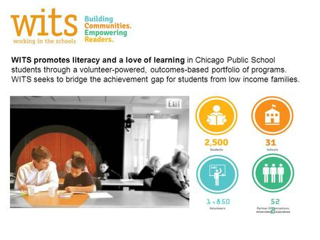 WITS promotes literacy and a love of learning in Chicago Public School students through a volunteer-powered, outcomes-based portfolio of programs. WITS.