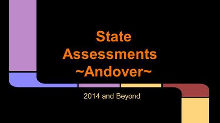State Assessments ~Andover~ 2014 and Beyond. Future of Assessments State BOE Decision: Dec. 10, 2013 Did not approve the use of Smarter Balanced Assessments.