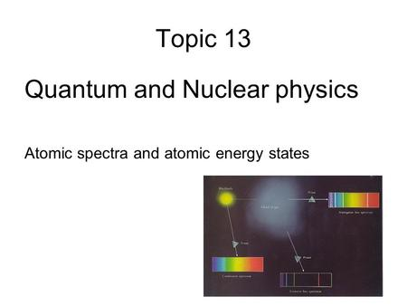 Topic 13 Quantum and Nuclear physics Atomic spectra and atomic energy states.
