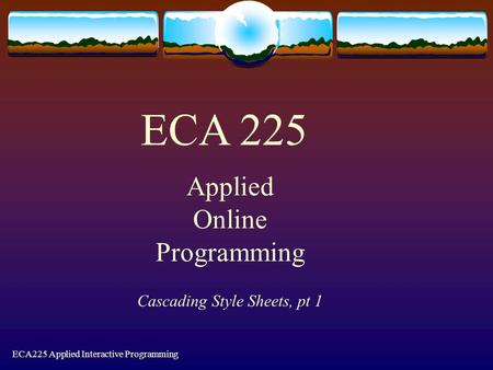 ECA225 Applied Interactive Programming Cascading Style Sheets, pt 1 ECA 225 Applied Online Programming.