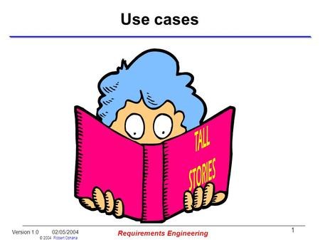 1 Version 1.0 02/05/2004 © 2004 Robert Oshana Requirements Engineering Use cases.