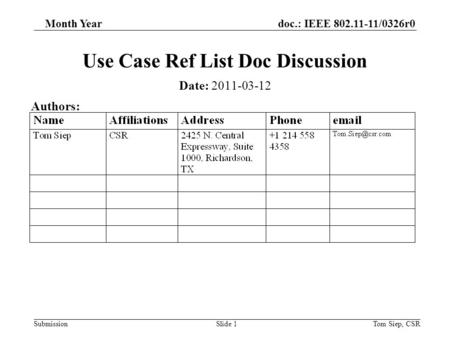 Doc.: IEEE 802.11-11/0326r0 Submission Month Year Tom Siep, CSRSlide 1 Use Case Ref List Doc Discussion Date: 2011-03-12 Authors: