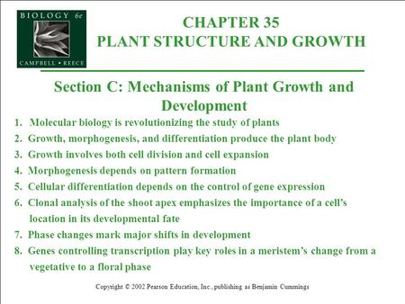 CHAPTER 35 PLANT STRUCTURE AND GROWTH Copyright © 2002 Pearson Education, Inc., publishing as Benjamin Cummings Section C: Mechanisms of Plant Growth and.