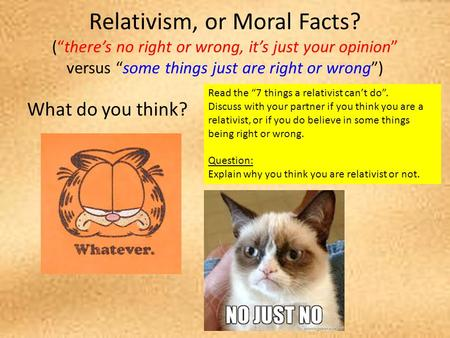 Relativism, or Moral Facts