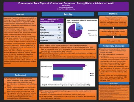 Prevalence of Poor Glycemic Control and Depression Among Diabetic Adolescent Youth Presented By: Atwater K and Wilson S Prairie View A & M University Prevalence.