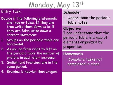 Monday, May 13 th Entry Task Decide if the following statements are true or false. If they are true write them down as is, if they are false write down.