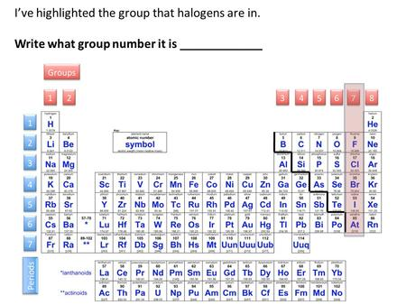I've highlighted the group that halogens are in.