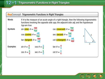 Concept. Example 1 Evaluate Trigonometric Functions Find the values of the six trigonometric functions for angle G. Use opp = 24, adj = 32, and hyp =