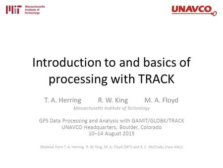 Introduction to and basics of processing with TRACK