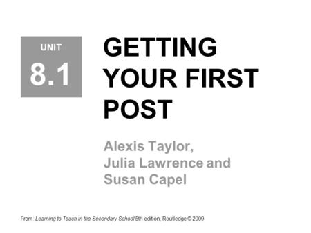 GETTING YOUR FIRST POST Alexis Taylor, Julia Lawrence and Susan Capel From: Learning to Teach in the Secondary School 5th edition, Routledge © 2009 UNIT.