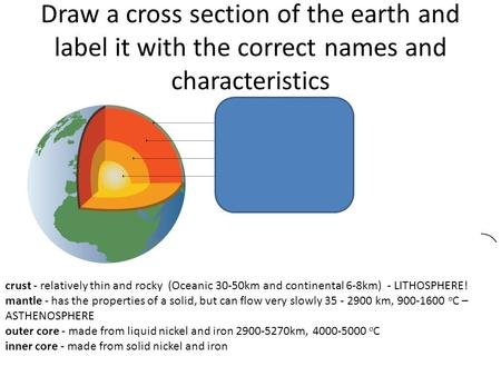 Draw a cross section of the earth and label it with the correct names and characteristics crust - relatively thin and rocky (Oceanic 30-50km and continental.