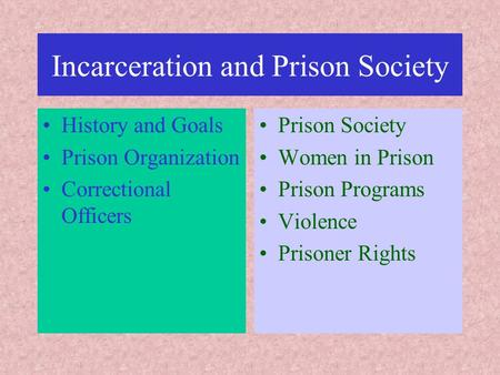 Incarceration and Prison Society History and Goals Prison Organization Correctional Officers Prison Society Women in Prison Prison Programs Violence Prisoner.