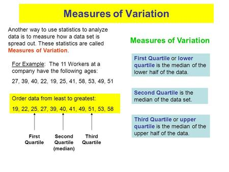 Measures of Variation For Example: The 11 Workers at a company have the following ages: 27, 39, 40, 22, 19, 25, 41, 58, 53, 49, 51 Order data from least.