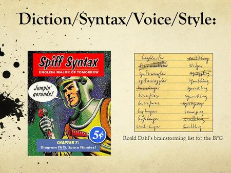 Diction/Syntax/Voice/Style: Roald Dahl's brainstorming list for the BFG.