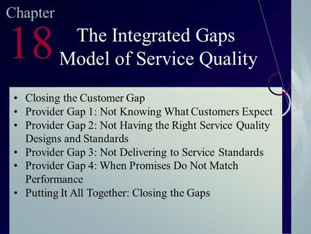 McGraw-Hill/Irwin ©2003. The McGraw-Hill Companies. All Rights Reserved Chapter 18 The Integrated Gaps Model of Service Quality Closing the Customer Gap.