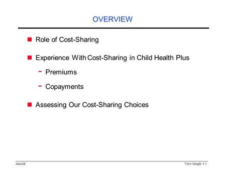 ArnoldView Graph # 1 OVERVIEW Role of Cost-Sharing Experience With Cost-Sharing in Child Health Plus - Premiums - Copayments Assessing Our Cost-Sharing.