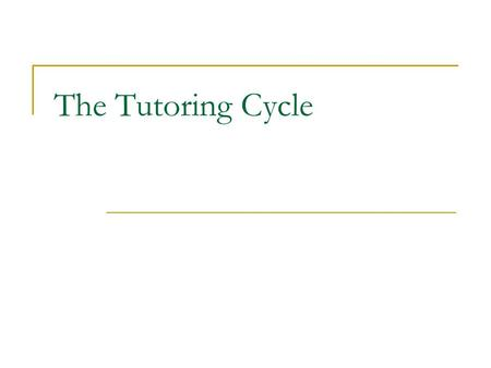 The Tutoring Cycle.