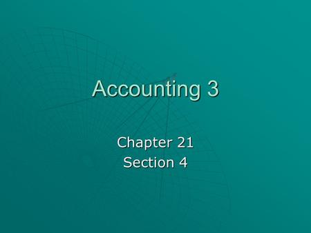 Accounting 3 Chapter 21 Section 4. Disposing of Plant Assets  A plant asset may no longer be useful to a business for a number of reasons. When this.