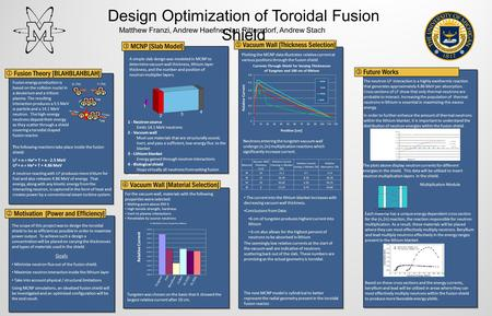 Design Optimization of Toroidal Fusion Shield  Fusion Theory [BLAHBLAHBLAH] Fusion energy production is based on the collision nuclei in a deuterium and.