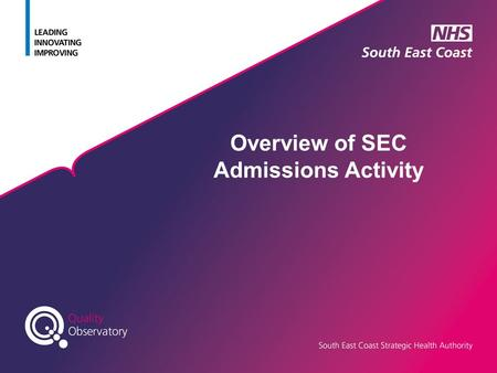 Overview of SEC Admissions Activity. Data Sources Ambulance Calls & A&E Attendances from Weekly SITREP Inpatient data sourced from SUS / trust extracts.