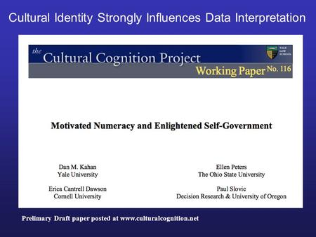 Prelimary Draft paper posted at www.culturalcognition.net Cultural Identity Strongly Influences Data Interpretation.