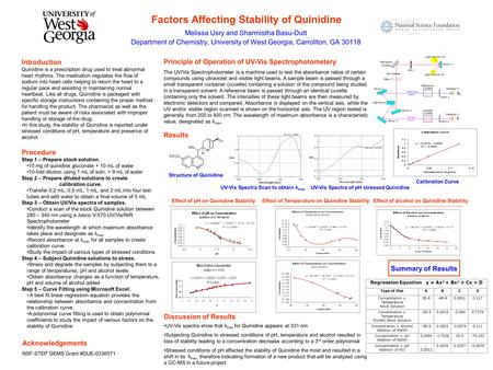 Factors Affecting Stability of Quinidine Melissa Usry and Sharmistha Basu-Dutt Department of Chemistry, University of West Georgia, Carrollton, GA 30118.
