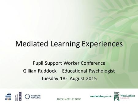 Mediated Learning Experiences Pupil Support Worker Conference Gillian Ruddock – Educational Psychologist Tuesday 18 th August 2015 DATA LABEL: PUBLIC.