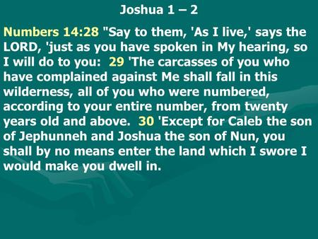 Joshua 1 – 2 Numbers 14:28 Say to them, 'As I live,' says the LORD, 'just as you have spoken in My hearing, so I will do to you: 29 'The carcasses of.