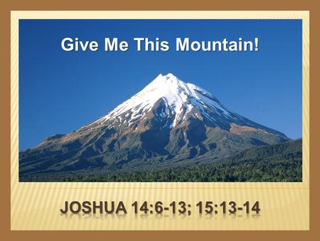 Give Me This Mountain!. CALEB  A recognized leader  Numbers 13:1-3  A man of courage  Numbers 13:21, 30  Joshua 15:13-14  Dedicated to the cause.