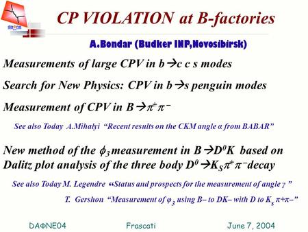 CP VIOLATION at B-factories A.Bondar (Budker INP,Novosibirsk) Measurements of large CPV in b  c c s modes Search for New Physics: CPV in b  s penguin.