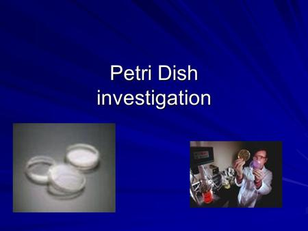Petri Dish investigation. agar A gelatinous material derived from certain marine algae. used as food for bacteria and as a thickener in many food products.