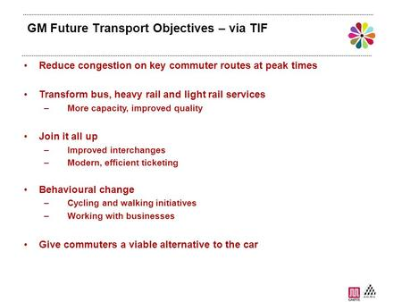 GM Future Transport Objectives – via TIF Reduce congestion on key commuter routes at peak times Transform bus, heavy rail and light rail services –More.