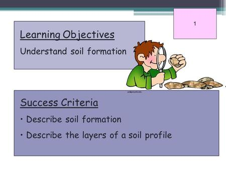 Learning Objectives Understand soil formation Success Criteria Describe soil formation Describe the layers of a soil profile 1.