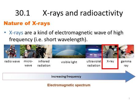 30.1X-rays and radioactivity X-rays are a kind of electromagnetic wave of high frequency (i.e. short wavelength). Nature of X-rays radio wave micro- wave.
