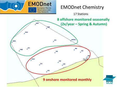 9 onshore monitored monthly 8 offshore monitored seasonally (2x/year – Spring & Autumn) EMODnet Chemistry 17 Stations.