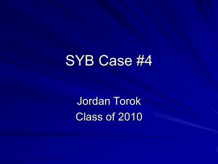 SYB Case #4 Jordan Torok Class of 2010. Chief Complaint 84 year old caucasian female with the sensation of food getting stuck in the retrosternal area,