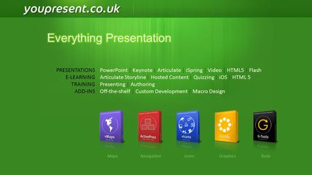 PowerPoint | Keynote | Articulate | iSpring | Video | HTML5 | Flash Articulate Storyline | Hosted Content | Quizzing | iOS | HTML 5 Presenting | Authoring.