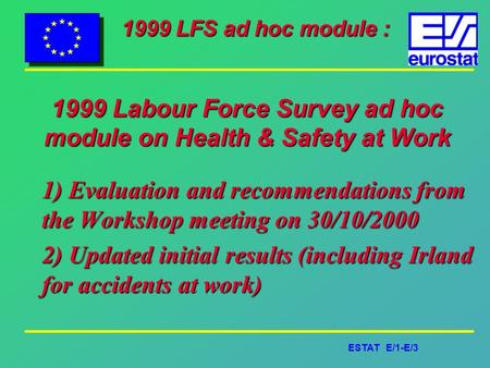 ESTAT E/1-E/3 1999 LFS ad hoc module : 1999 Labour Force Survey ad hoc module on Health & Safety at Work 1) Evaluation and recommendations from the Workshop.