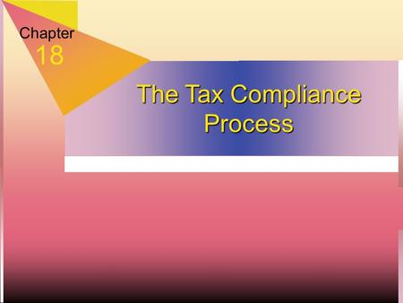 Chapter 18 The Tax Compliance Process. Filing and Payment Requirements  Due dates  Individual: 4/15, extend to 10/15  Corporate: 15th day of 3rd month,