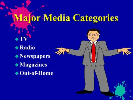 Major Media Categories u TV u Radio u Newspapers u Magazines u Out-of-Home.