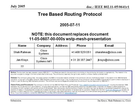 Doc.: <strong>IEEE</strong> 802.11-05/0641r1 Submission July 2005 Jan Kruys, Shah Rahman.e.a, CiscoSlide 1 Tree Based Routing Protocol 2005-07-11 NOTE: this document replaces.