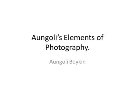 Aungoli's Elements of Photography. Aungoli Boykin.