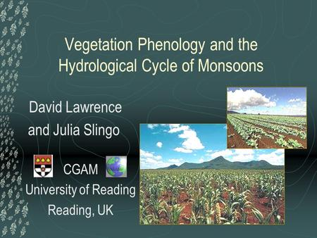 CGAM University of Reading Reading, UK Vegetation Phenology and the Hydrological Cycle of Monsoons David Lawrence and Julia Slingo.