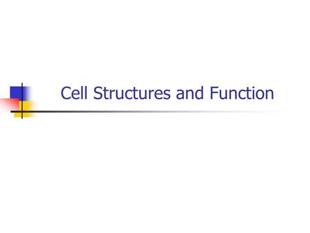 Cell Structures and Function